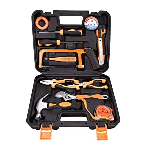 SOLUDE Home Repair Tools Sets,12 Pieces Saw Screwdrivers Pliers Sets General Household Hand Tool Kits with Plastic Toolbox Storage Case