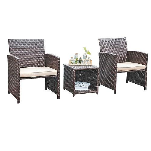 OC Orange-Casual 3 Pcs Patio Wicker Furniture Set Rattan Chair with Storage Side Box, Brown PE Bistro Set with Beige Cushion, Porch, Garden, Yard