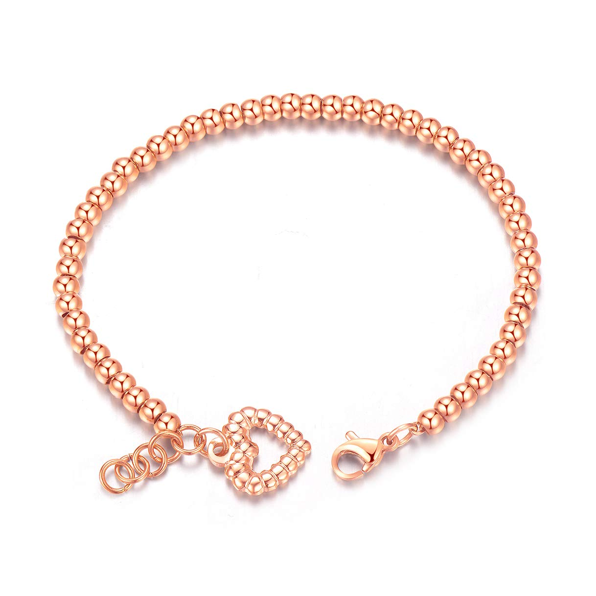 CHARMFAME Rose Gold Plated Stainless Steel Love Heart Beaded Bracelet Fashion Jewelry for Women /& Girls