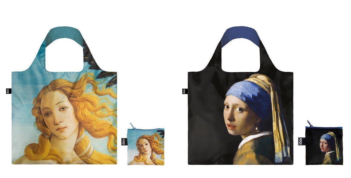 LOQIバッグ再利用可能なショッピングバッグ、2のセット、Vermeer and Botticelli B077Y4S7K7