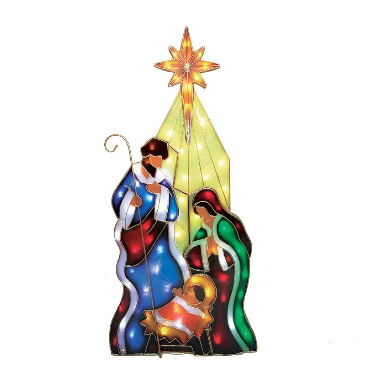 5 ft Pre-Lit Nativity Holy Family Sculpture with Constant Multicolor LED Lights Indoor Outdoor