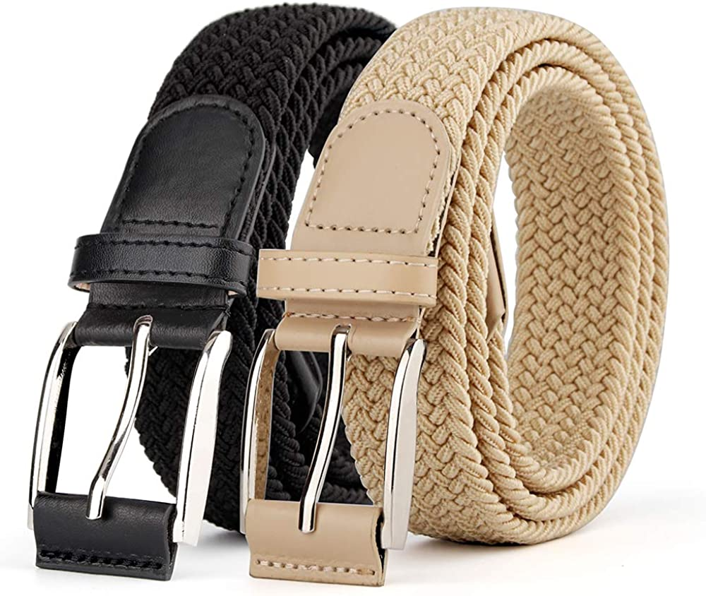 Men Womens Canvas Knit Woven Waist Belt Elastic Stretch Braided Buckle For Jeans