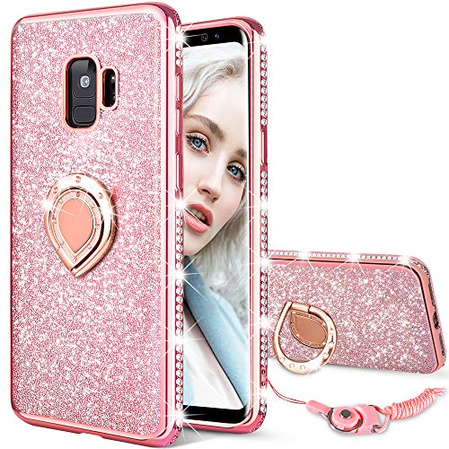 Maxdara Galaxy S9 Case, Galaxy S9 Glitter Sparkle Cute Women Girls Case Bling Shiny Diamond Rhinestone Ring Holder Stand Kickstand TPU Bumper Case Cover for Samsung Galaxy S9 5.8 inches (Rosegold)
