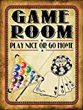 Game Room Play Nice or Go Home Metal Sign, Poker, Billiards, Gaming, Mancave, Den, Wall Décor