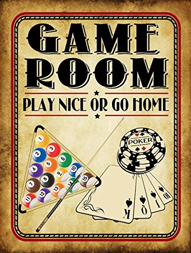 Game Room Play Nice or Go Home Metal Sign, Poker, Billiards, Gaming, Mancave, Den, Wall Décor (Billiards Room Decor)