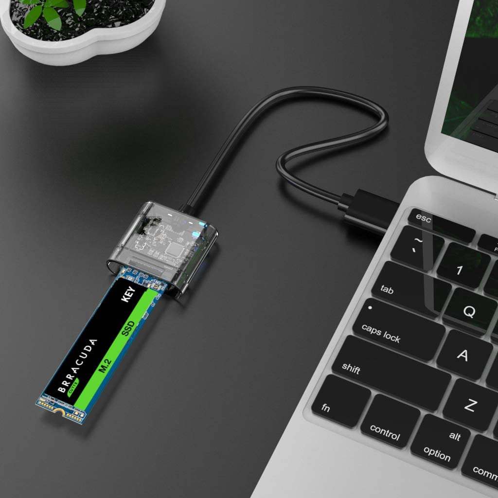 AODUKE USB 3.0 to M.2 NGFF SSD Enclosure Adapter External SATA Based M.2 Solid State Hard Drive Enclosure Support M.2 2280 2260 2242 2230 SSD with B-Key Blue SATA Based