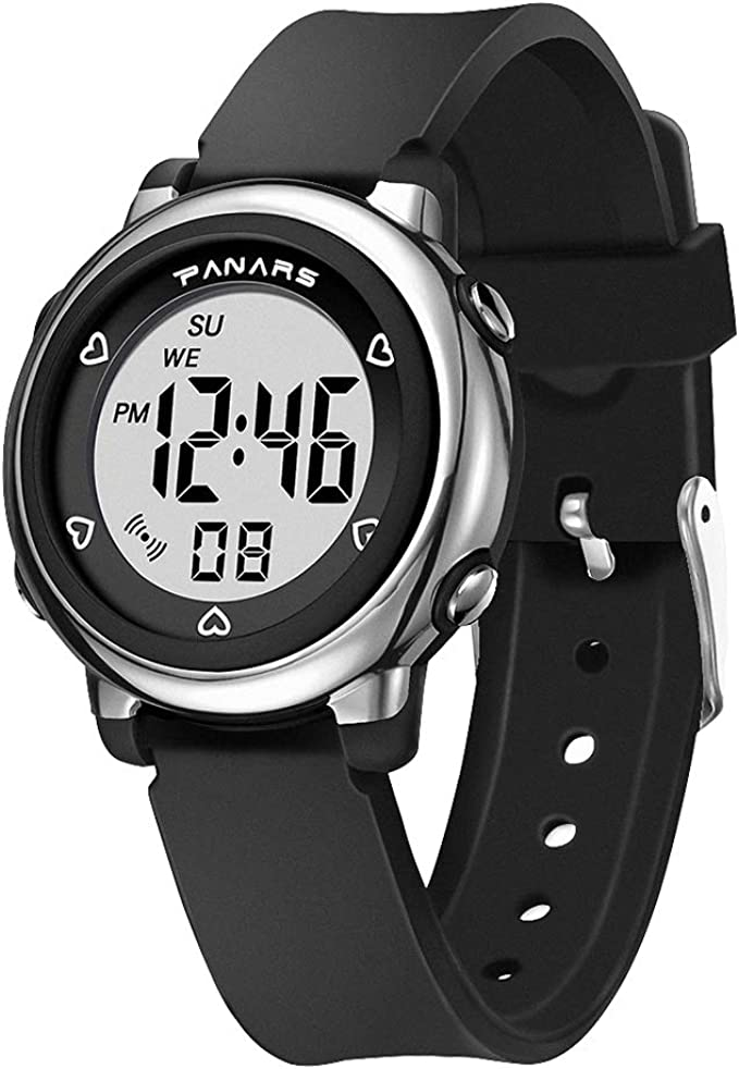 Boys Girls Sports Outdoor 50m Waterproof Electrical Wristwatch with Alarm Stopwatch Reminder for Age 4-16