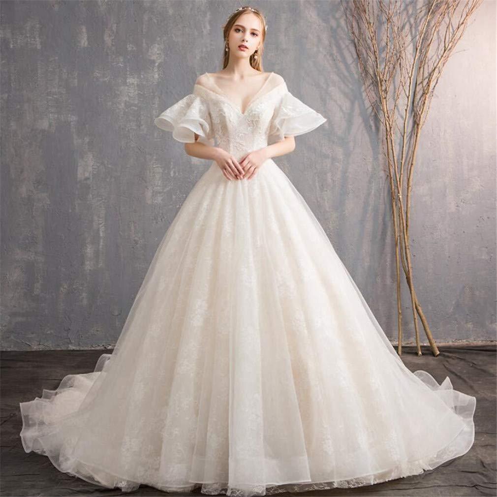 Wedding Dress, Europe and America Luxurious Sexy Deep VNeck Mesh Ruffle Sleeve Slim Fit Bride Wedding Dress