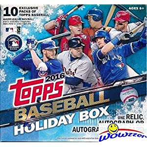 2016 Topps Baseball Sealed HOLIDAY MEGA Factory Sealed Box with AUTOGRAPH or RELIC Card,100 Cards including FIVE(5) EXCLUSIVE Snowflake Metallic Parallels! WOWZZER!
