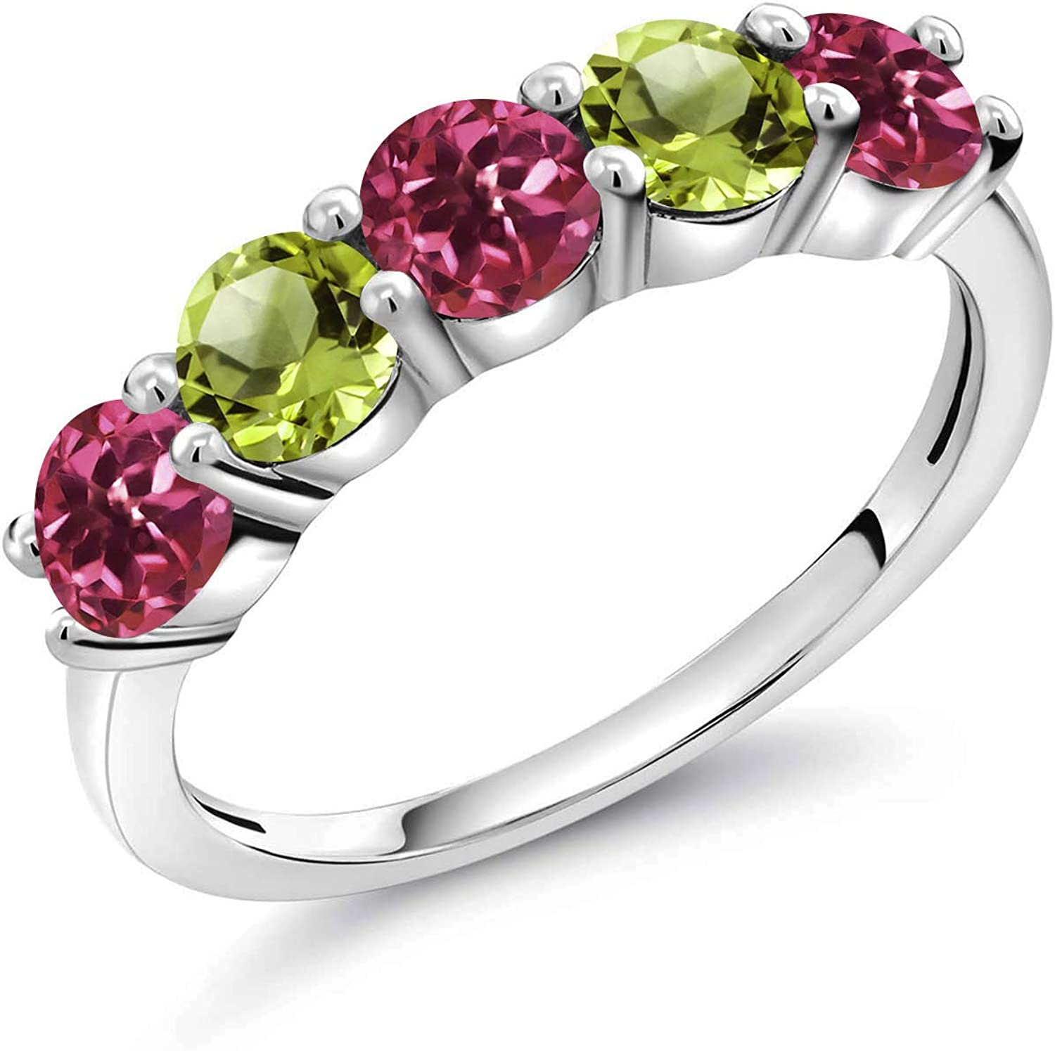 Gem Stone King 0.86 Ct Round Pink Tourmaline Green Peridot 925 Sterling Silver Ring