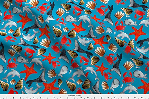 Spoonflower Starfish Fabric Tissu Liberty Des Mers Fond Bleu L by Nadja Petremand Printed on Minky Fabric by the Yard