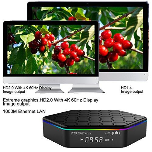 YAGALA T95Z Plus Android 7.1 TV Box Amlogic S912 Octa Core 3GB/32GB Dual Band WiFi 2.4GHz/5.0GHz 4K HD TV Box with Backlit Mini Wireless Keyboard by YAGALA (Image #2)