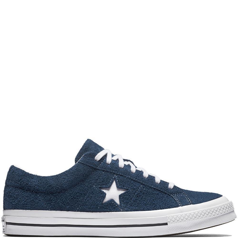 Converse Unisex-Erwachsene Lifestyle One Star OX Suede Fitnessschuhe, Schwarz  42.5 EU|Blau (Navy/White/White 410)