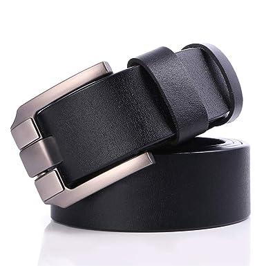 Amazon.com: Cinturón para hombre de piel de vaca auténtica ...