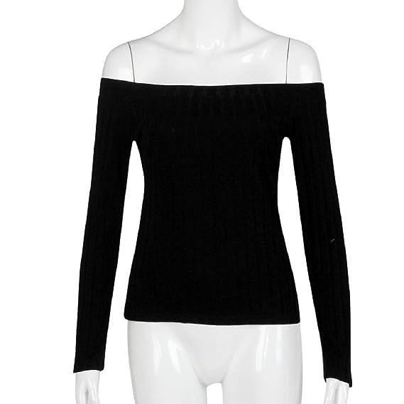 Tongshi Moda Mujeres sin mangas corta top ajustado suéter que hace punto sin tirantes de la camiseta ocasional: Amazon.es: Ropa y accesorios