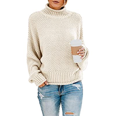 Ybenlow Womens Turtleneck Sweaters Batwing Long Sleeve Casual Loose Oversized Chunky Knit Pullover Jumper Tops at Women's Clothing store