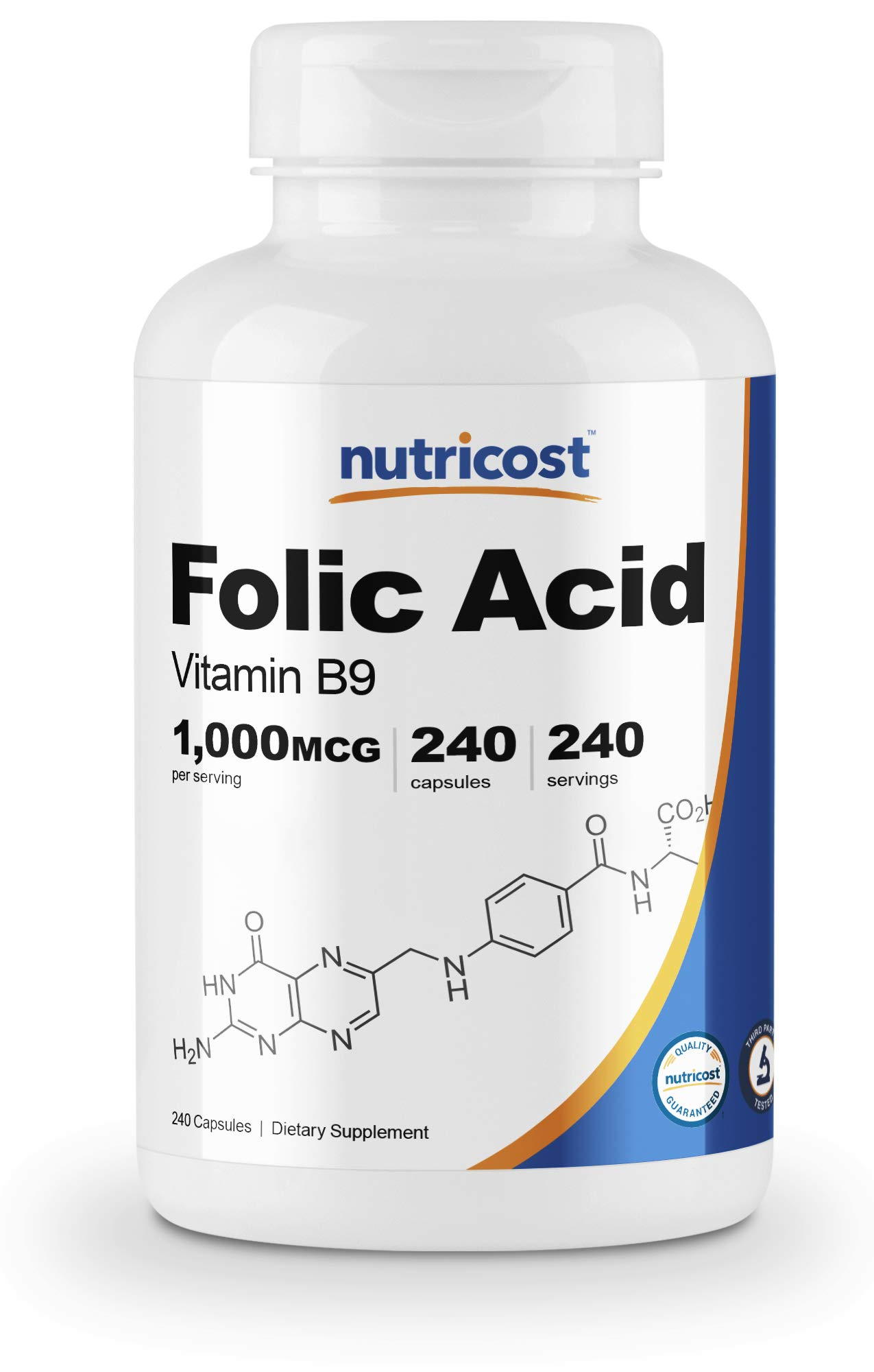 Nutricost Folic Acid (Vitamin B9) 1000 mcg, 240 Capsules by Nutricost