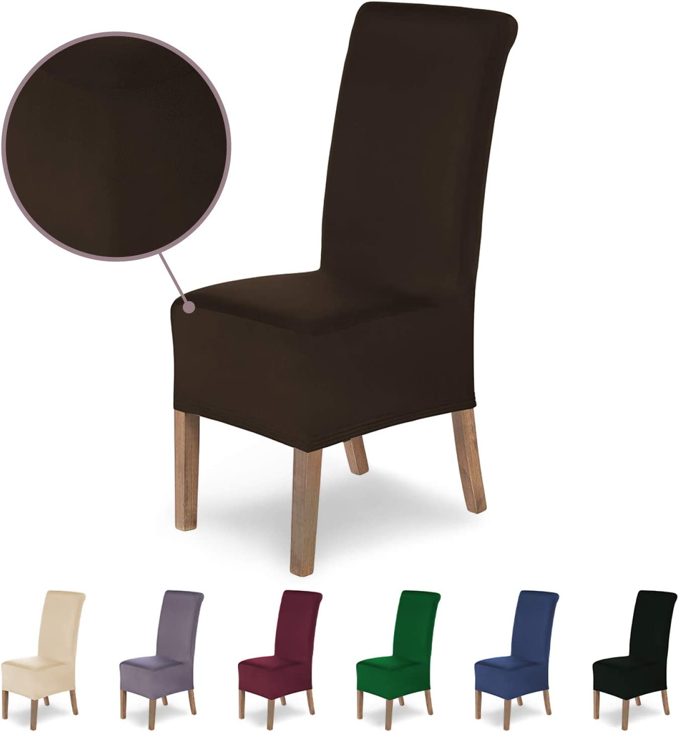 Microfibre Spandex Cover with Elastic Band Bordeaux SCHEFFLER-Home Stretch Chair Cover Lena Elegant Chair Cover Elastic Dining Chair Slipcover