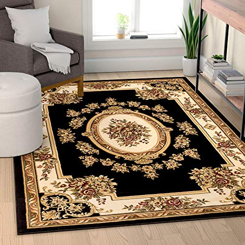 Well Woven Timeless Le Petit Palais Black Traditional Area Rug 5'3