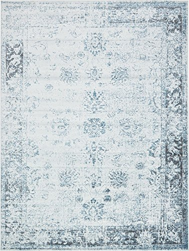 Unique Loom 3134065 Sofia Collection Traditional Vintage Beige Area Rug, 9' x 12' Rectangle, Light Blue
