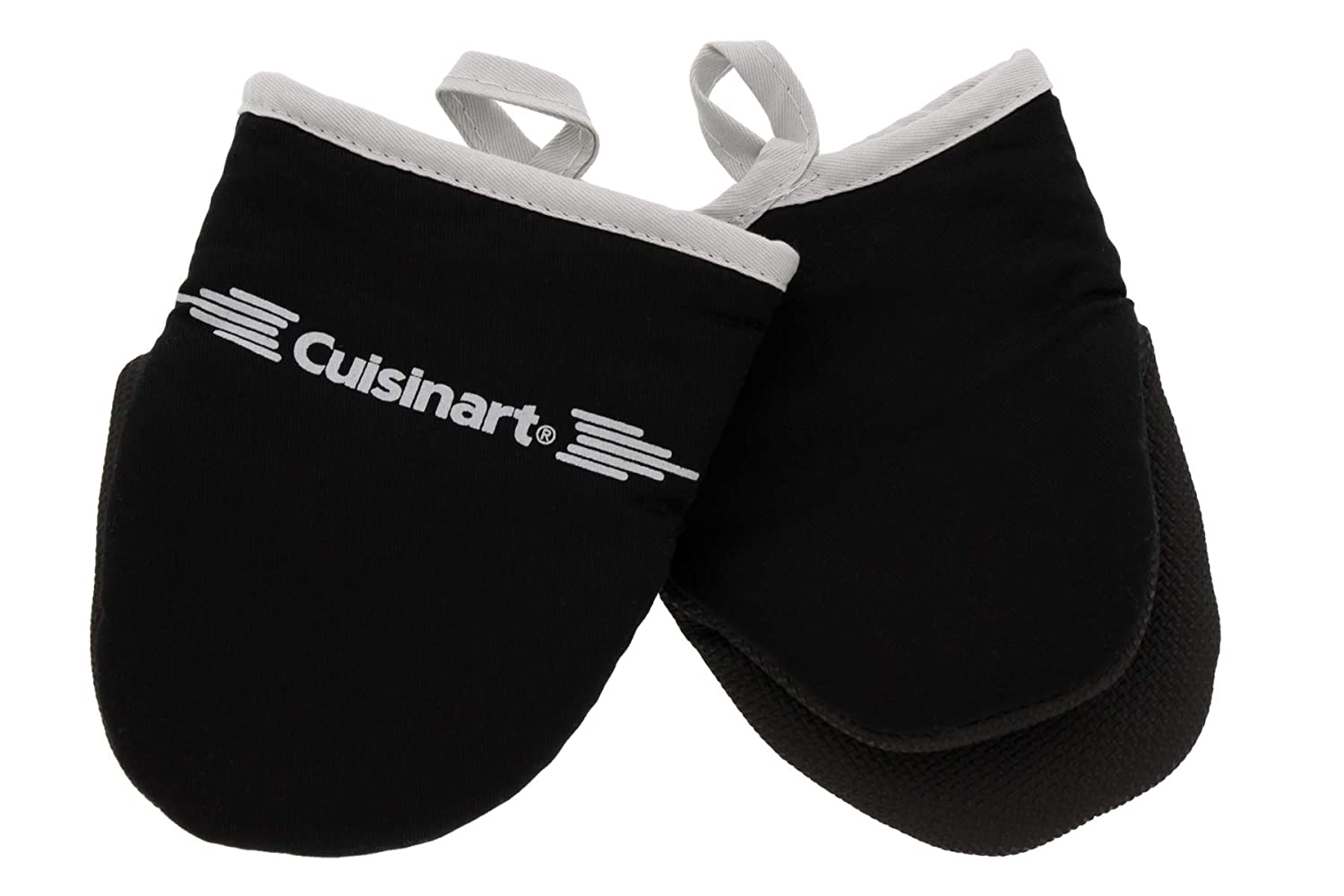 Cuisinart Neoprene Mini Oven Mitts, 2pk - Non-Slip Heat Resistant Gloves Protect Hands and Surfaces from Hot Cookware, Kitchenware Items - Ideal Mini Kitchen Set with Hanging Loop - Black with Grey