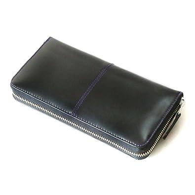 56aa27e1d6c6 DIABLO ディアブロ 長財布 メンズ 馬革 ラウンドファスナー ブラック×ブルー 【KA-510