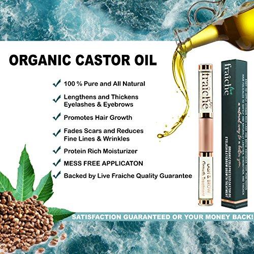 USDA Organic Castor Oil for Eyelashes and Eyebrows – Cold Pressed Castor Oil Eyelash Growth Serum with Mascara Tube…