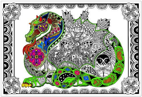 Stuff2Color Dragon - Giant 22 X 32.5 Inch Line Art Coloring Poster (Great for Family Time, Adults, Kids, Classrooms, Care Facilities and Group Activities) -