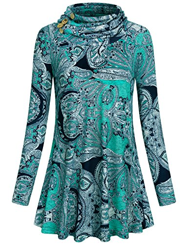 (SeSe Code Pullover Tunic Top Womens Long Sleeve Cowl Neck Round Bottom Shirts and Blouses Print Pattern Decorative Button Design Sweater Knit Pleat Elastic Sweatshirt Paisley Blue Medium)