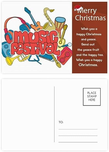 Tarjeta postal con mensaje de Navidad para guitarra o festival, 20 ...