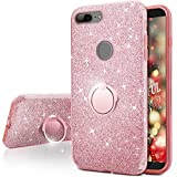 OnePlus 5T Case, Silverback Girls Bling Glitter Sparkle Case With 360 Rotating Ring Stand, Soft TPU Outer Cover + Hard PC Inner Shell Skin for OnePlus 5T Case -Rose Gold