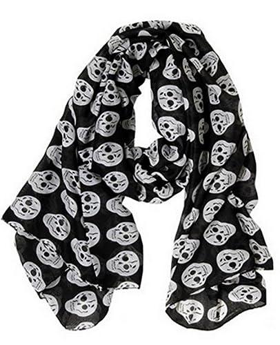 Pañuelo, bufanda Calavera negro y blanco 175×80 cm, novedad.
