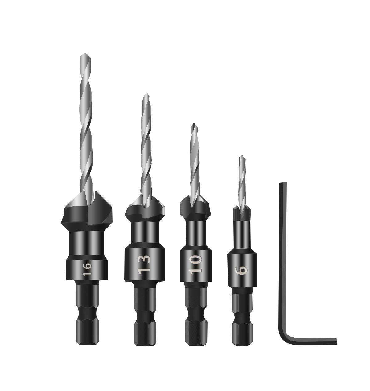 4PCS Countersink Drill Bit, Mgtgbao Drill Bit Set Wood Drill Set Woodworking Countersink Chamfer, with One Hex Wrench, 6# 10,#13#16 Screw Size.