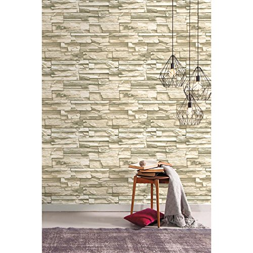 RoomMates Natural Stacked Stone Peel and Stick Wallpaper