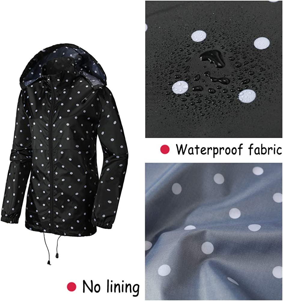 SUNDAY ROSE Women Packable Rain Jacket Waterproof Raincoat Spring Windbreaker
