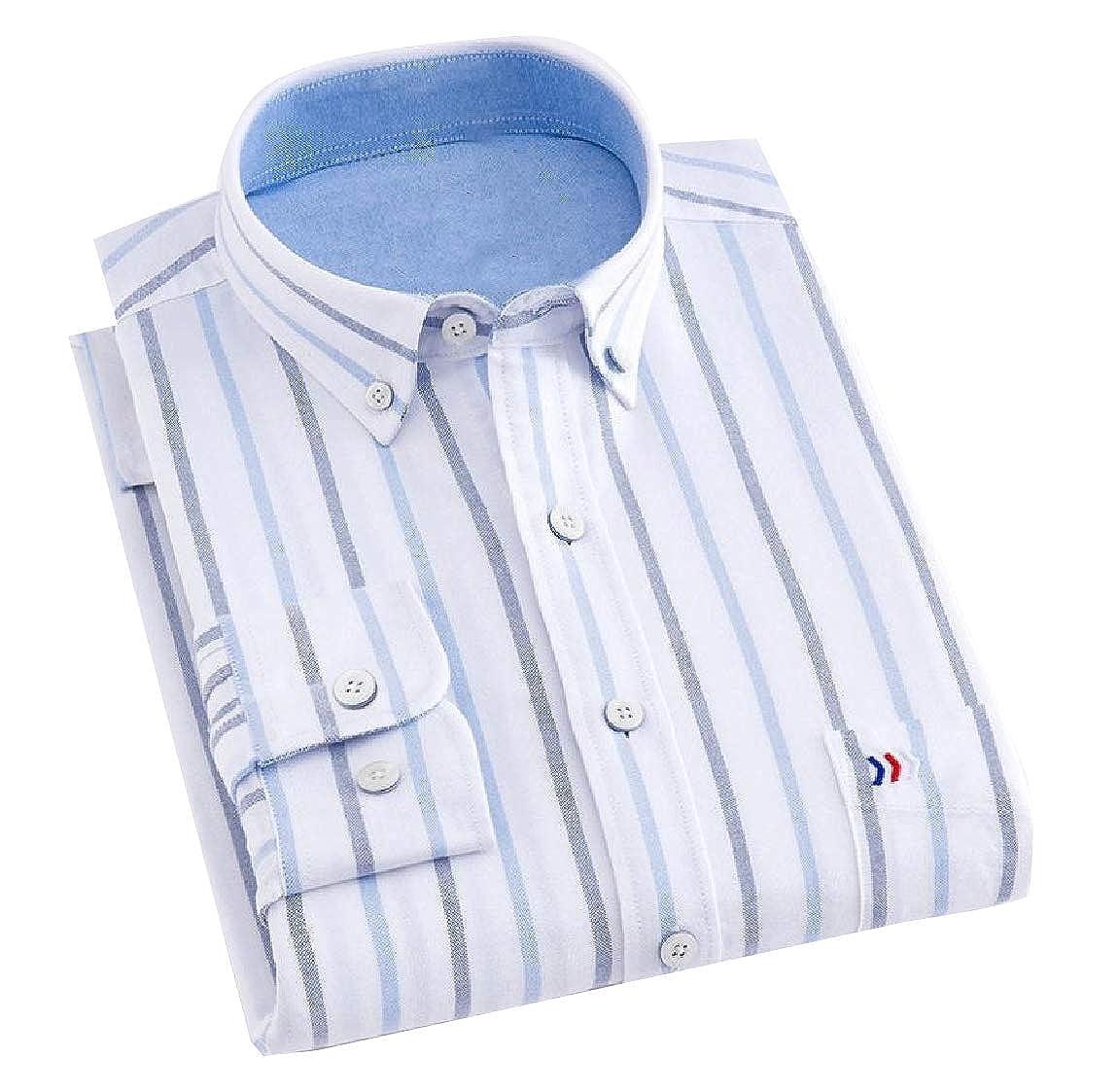 YUNY Mens Long-Sleeve Plaid Cozy Formal Classic Oxford Poplin Shirt 30 XL