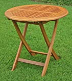 International Caravan TT-VN-0092-TBL-IC Furniture Piece Royal Tahiti Outdoor Wooden 28″ Round Folding Table, Brown