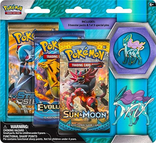 Pokemon TCG: Sun & Moon Guardians Rising, 3 Pack Blister, Featuring Suicune Collector's Pin