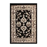Elegant Kitchen Rugs Superior Elegant Kingfield Collection Area Rug, 8mm Pile Height with Jute Backing, Classic Bordered Rug Design, Anti-Static, Water-Repellent Rugs - Black, 2' x 3' Rug