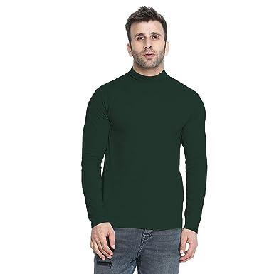 de624d871b93 CHKOKKO Winter wear Cotton Full Sleeves High Neck T Shirts for Mens Bottle  Green Size S