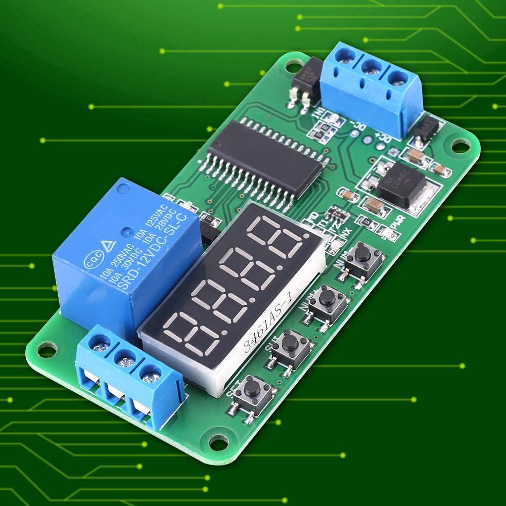 Module relais temporis/é Relais temporis/é multifonctionnel Relais temporis/é marche//arr/êt DC 12V 1 canaux Affichage LED
