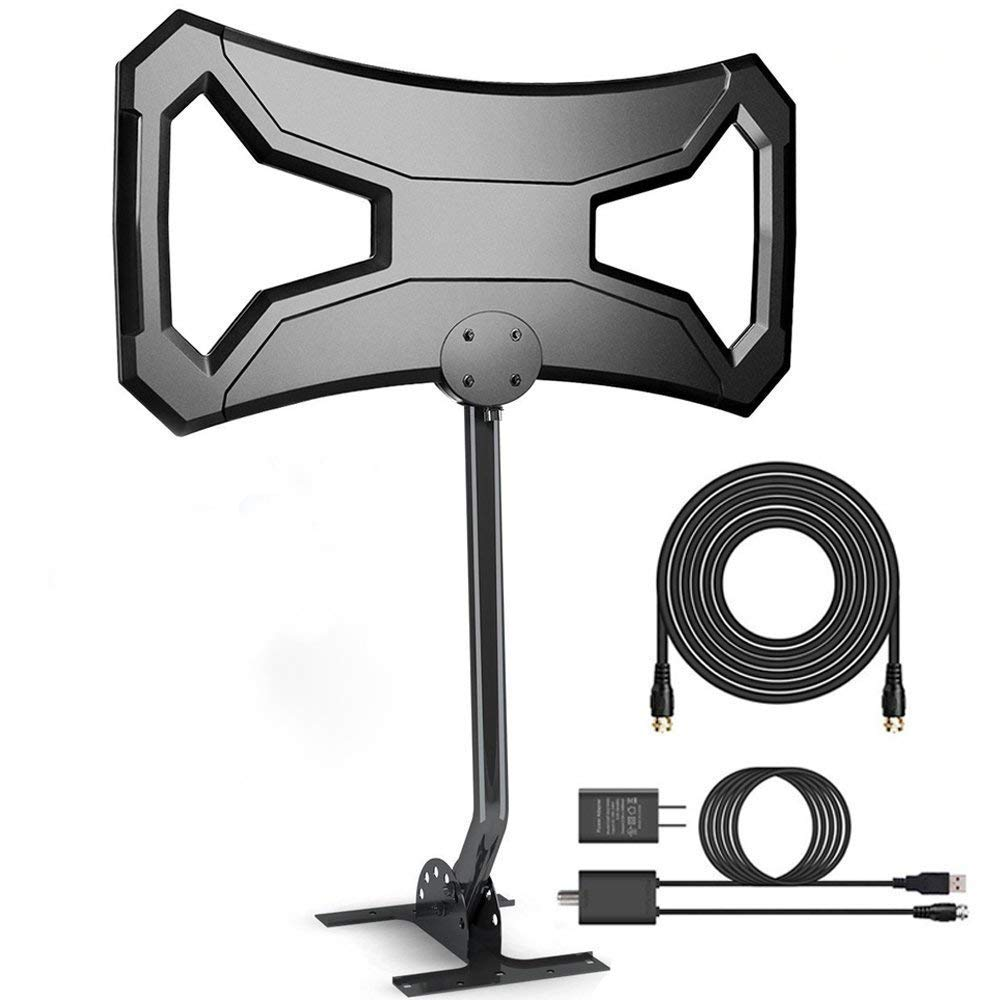 150Miles Ultra Amplified Outdoor TV Antenna[Newest 2019] Digital HDTV Antenna Free Signals Support 4K/1080p/All Older TVs with Mounting Pole/33Ft RG6 Coax Cable/AC Adaptor (Directional) by ONESUPPLY