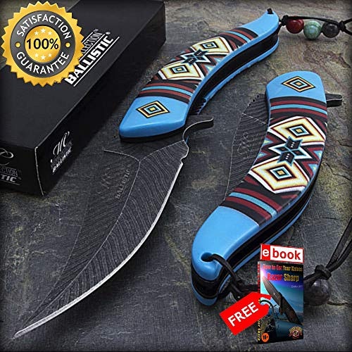 8.5'' NATIVE AMERICAN BLUE SPRING ASSISTED FOLDING KNIFE Open Indian Assist Razor Sharp Blade Combat Tactical Knife + eBOOK by Moon Knives