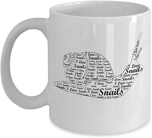 Amazon Com Snail Lover Gifts I Love Snails Word Art Design Best Funny Cool Animal Lover Gift 11 Oz Coffee Mug Tea Cup White Kitchen Dining
