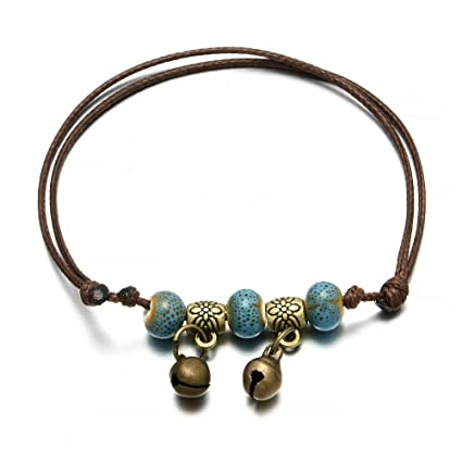 Charm Bell Anklet Bracelet Ankle Ceramic Beads Weave Rope Women Foot Chain