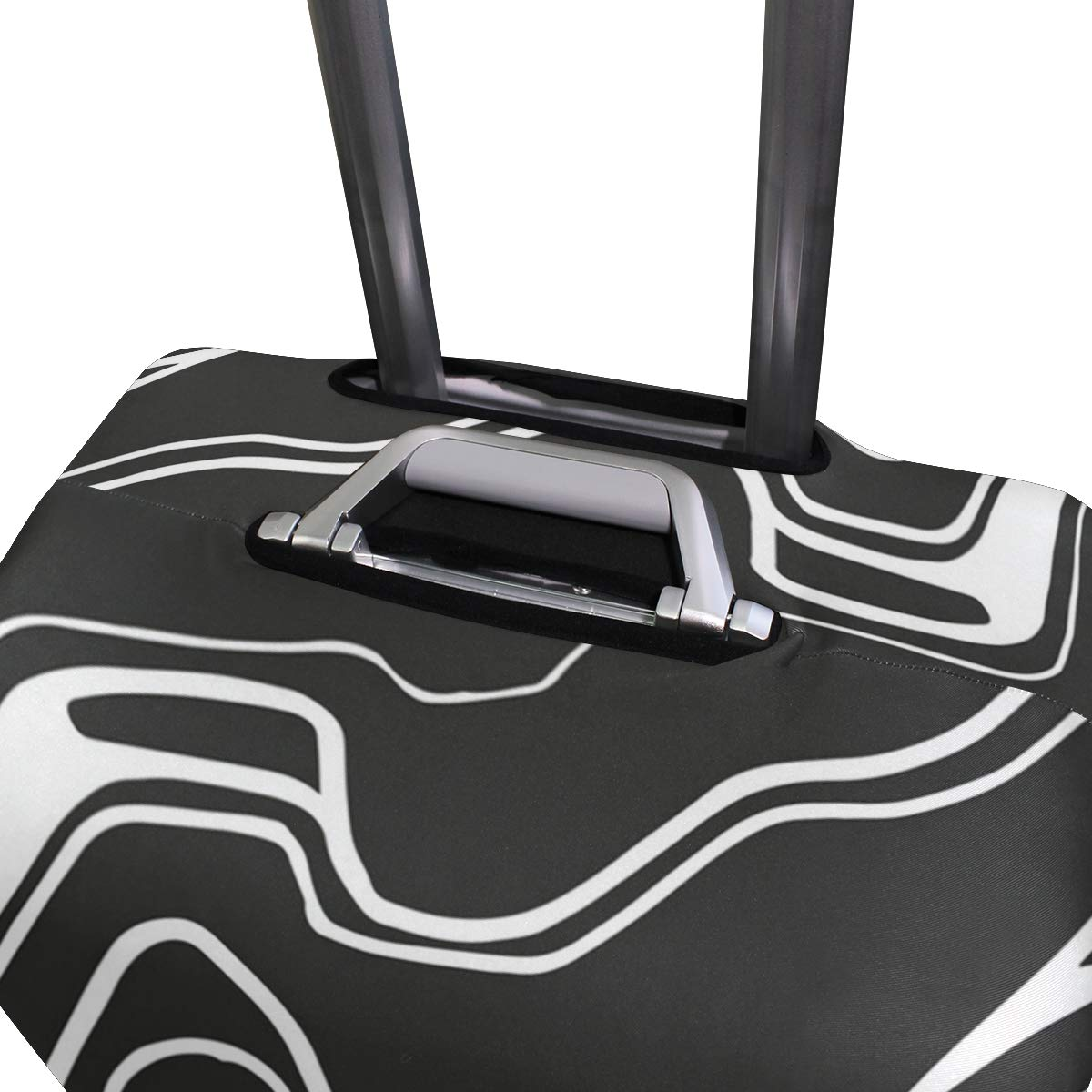 Black And White Line Ripple Traveler Lightweight Rotating Luggage Cover Can Carry With You Can Expand Travel Bag Trolley Rolling Luggage Cover