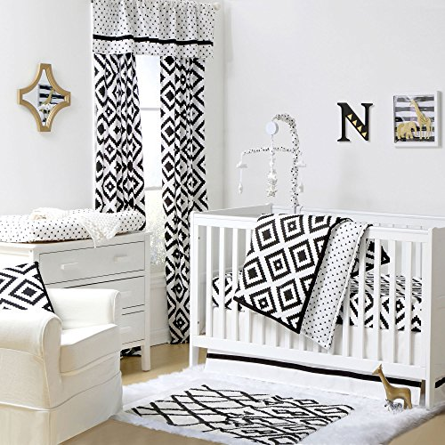 Deco Diamond Black Tile Baby Crib Bedding - 11 Piece Sleep Essentials Set