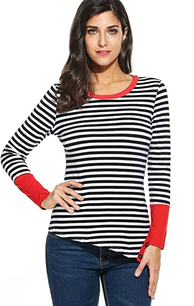 c968c50f96 POGTMM Women's Long Sleeve Crew Neck Button Hem Striped Patchwork T-Shirt  Tops at Amazon Women's Clothing store: