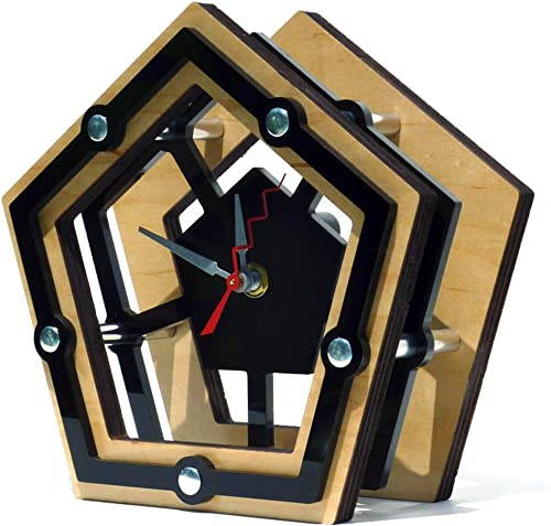 Modern Geometric Pentagon Desk Clock – Wood