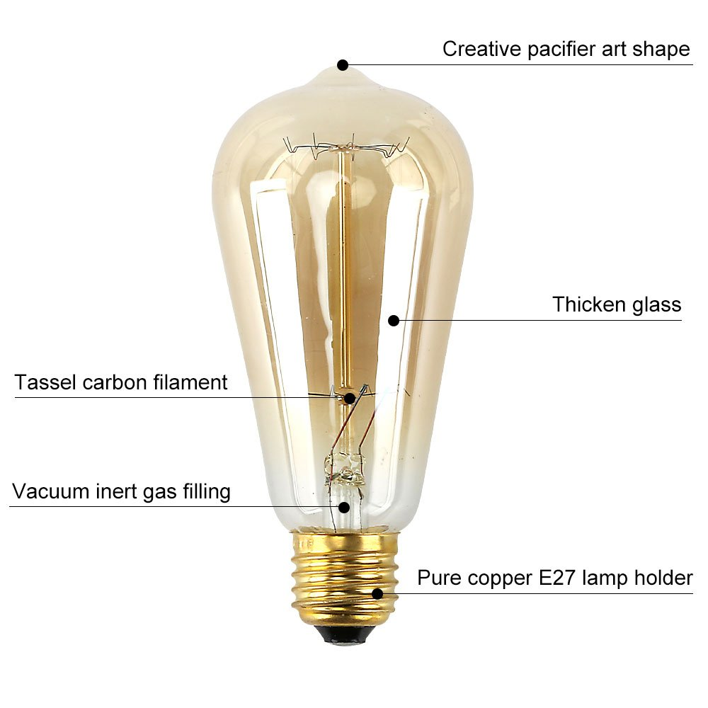 3 Pack Aurora Bombillas Vintage E27,Bombilla de Filamento Edison 40W,ST64 Tornillo 220V-240V L/ámpara de vidrio Filamento de tungsten 2700k Regulable 6Piezas